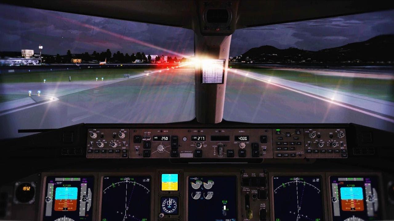 Boeing 777 Cockpit Takeoff Corfu HD