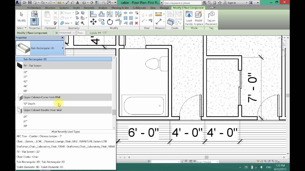 How To Create A Bathroom In Revit Architecture Youtube