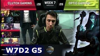 Clutch Gaming vs OpTic Gaming | Week 7 Day 2 S8 NA LCS Summer 2018 | CG vs OPT W7D2