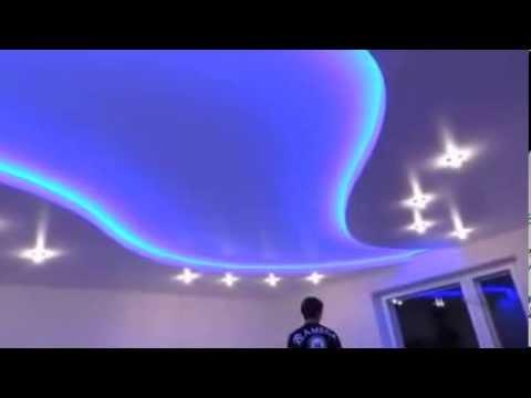 Многоуровневые натяжные потолки с подсветкой 3D