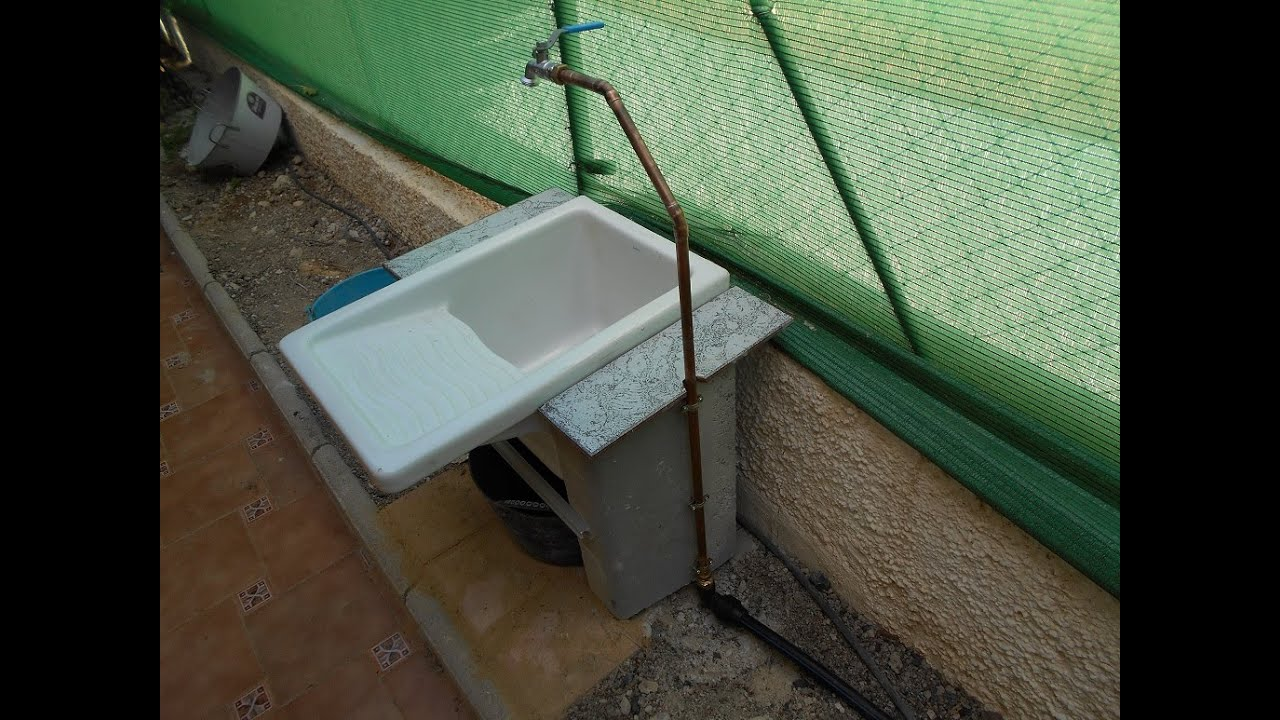 Pila fregadero ceramica nuevo uso en jard n youtube for Fregaderos para jardin
