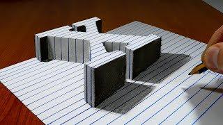 Draw a Letter X on Line Paper   3D Trick Art