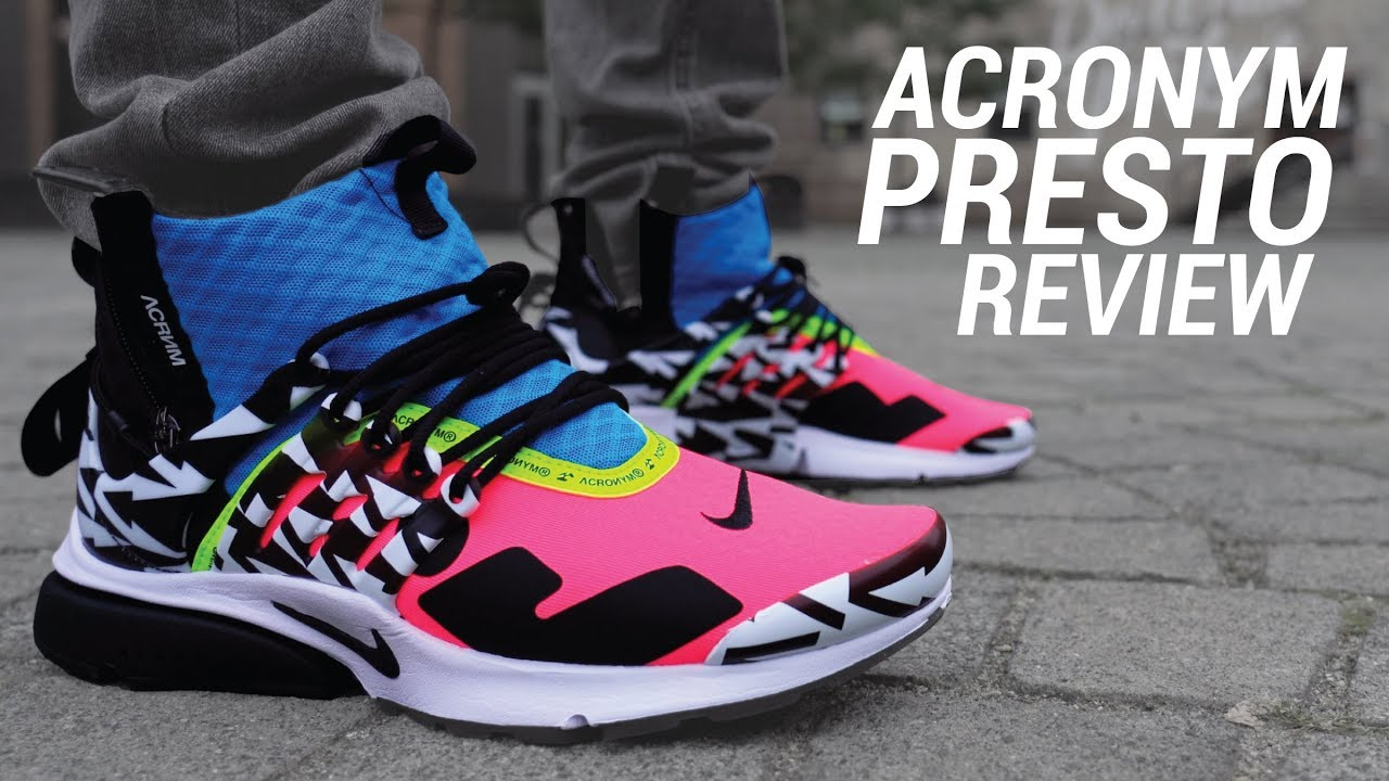 release date 88af1 d2c0e ... Nike Air Presto Mid On Foot Look Racer Pink Black Photo Blue White  Dynamic Yellow SethFowler AcronymPresto StockX ACRONYM x ...