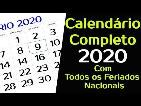 Calendario De 2020 Brasil.Calendario 2020 Com Todos Os Feriados Nacionais Completo