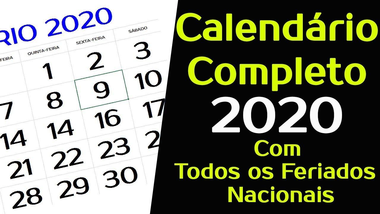 Calendario 2020 Com Feriados Para Impressao.Calendario 2020 Com Todos Os Feriados Nacionais Completo