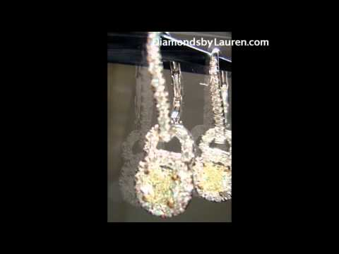.76ctw Natural Light Yellow Radiant Diamond Dangle Halo Earrings