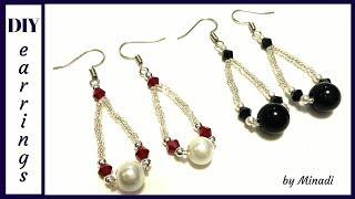 5 minutes DIY earrings. Simple beaded earrings. Beads earrings beginner pattern