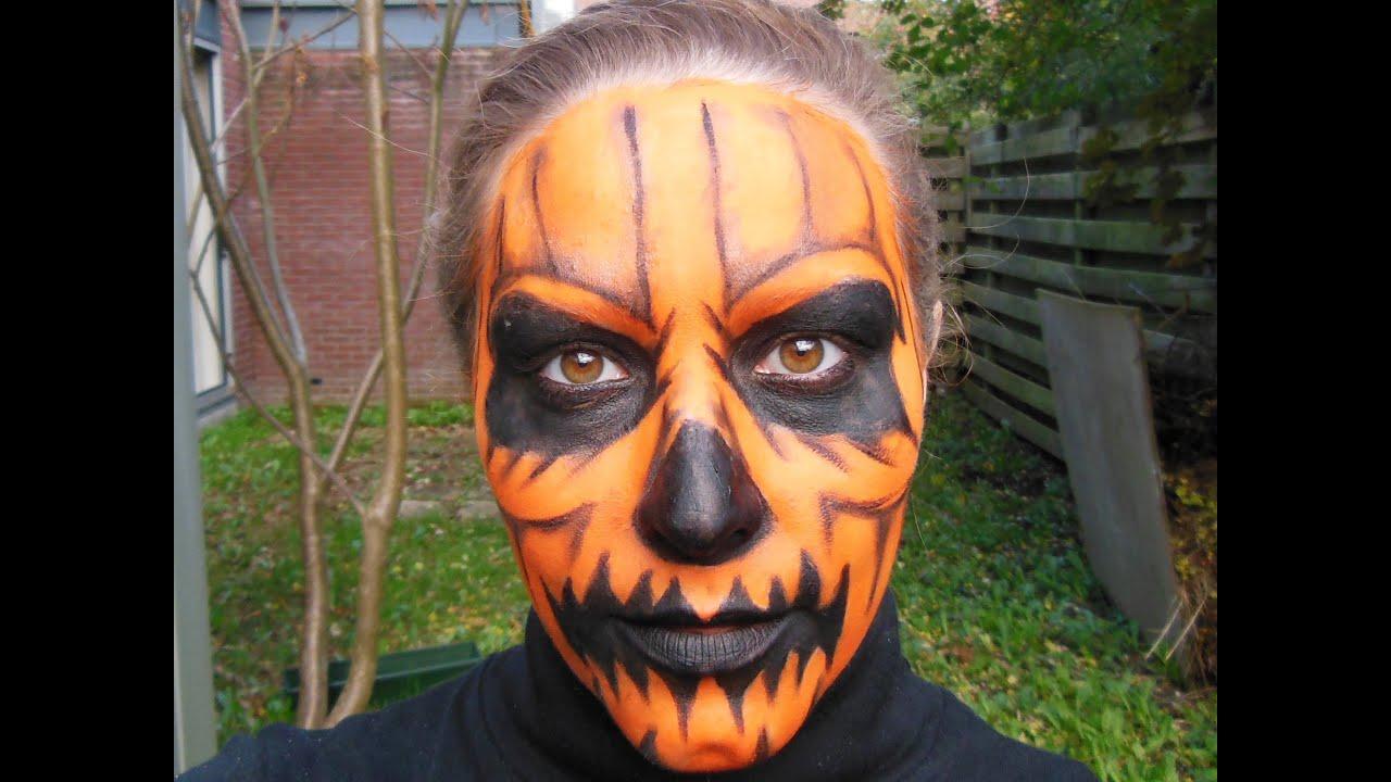 Quick and easy Halloween Pumpkin makeup tutorial - YouTube
