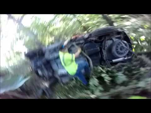 ROLLOVER---FISHING AN SUV OUT OF THE WOODS
