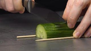 Si cortas el pepino de esta manera, surgirá una verdadera obra de arte más tarde