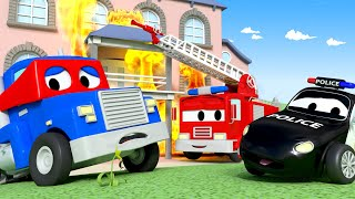 Car Patrol -  Supertruck needs help - Car City ! Police Cars and fire Trucks for kids