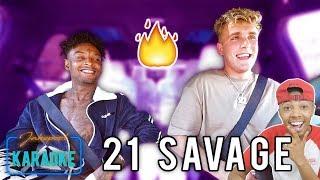 21 Savage Carpool Karaoke WITH Jake Paul Reaction