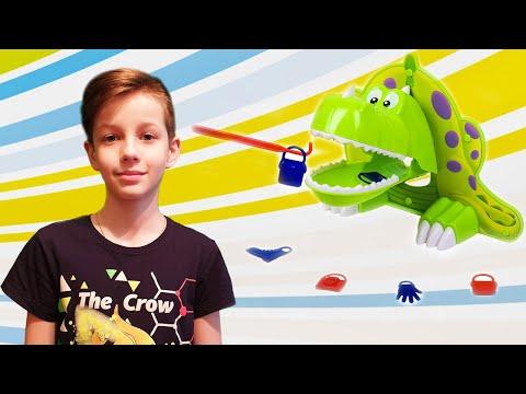 Весёлая настольная Игра для детей «ГОЛОДНЫЙ ДИНОЗАВРИК» Кто же выиграл Данил или Папа? Start Play