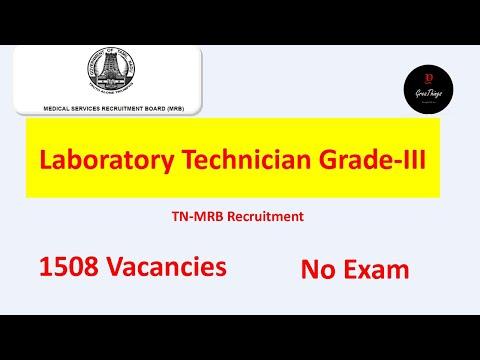 Laboratory Technician Grade-III | 1508 Vacancies| TN-MRB| Employment News|GreaThings