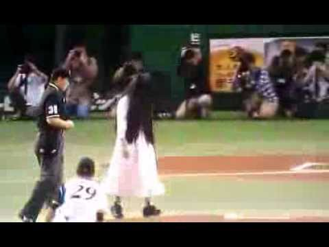 Sadako From The Movie The Ring Does Baseball in JAPAN