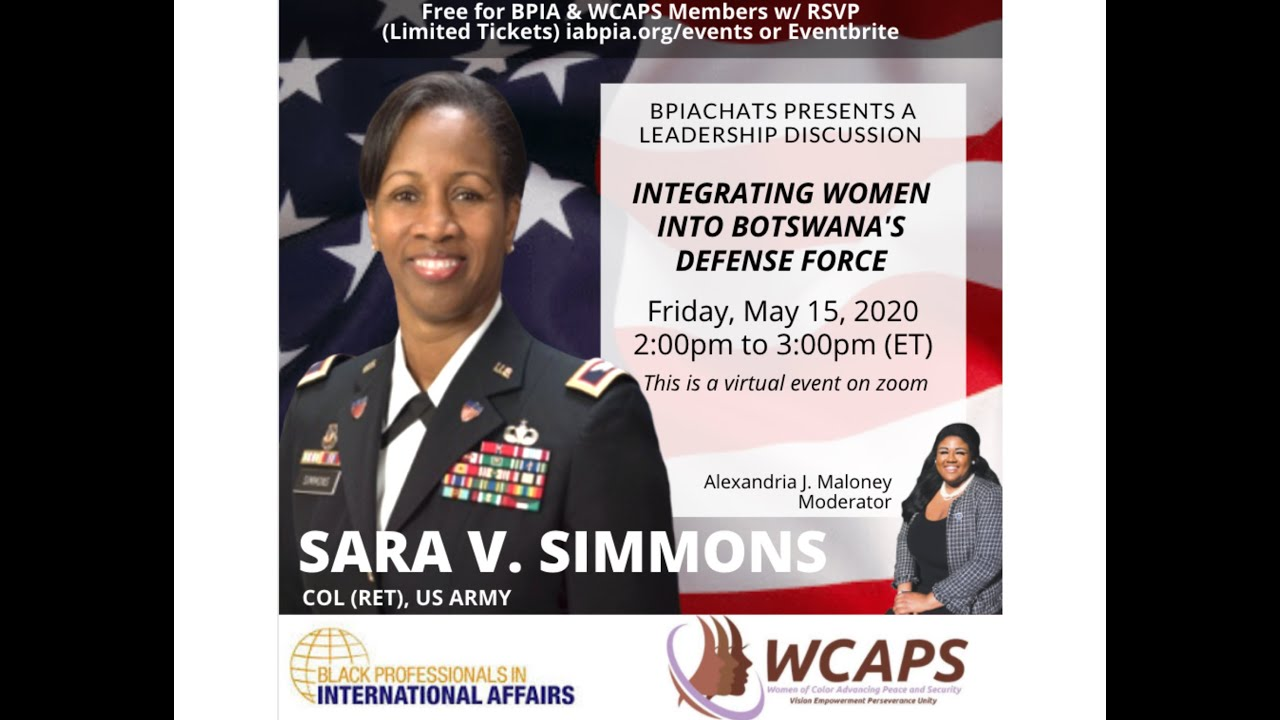 BPIA Leadership Series w/ U.S. Army Col. Sara V. Simmons on Integrating Women into Defense Forces