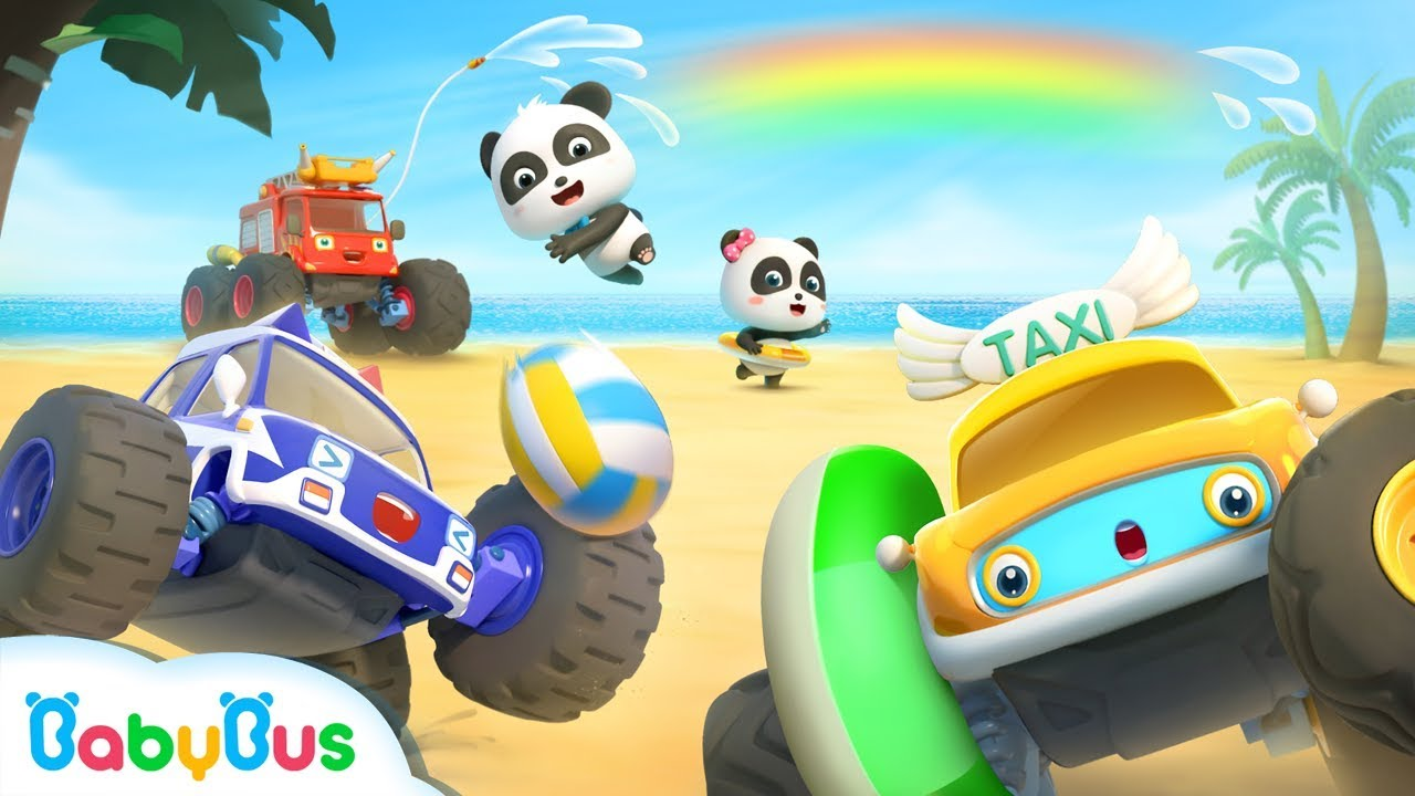 What Rhymes With Car >> Baby Panda's Summer Vacation | Water Play, Beach Party ...