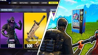 NEW FORTNITE UPDATE - How to Get FREE SKINS! SECRET FREE RAVEN SKIN + VENDING MACHINE GAMEPLAY
