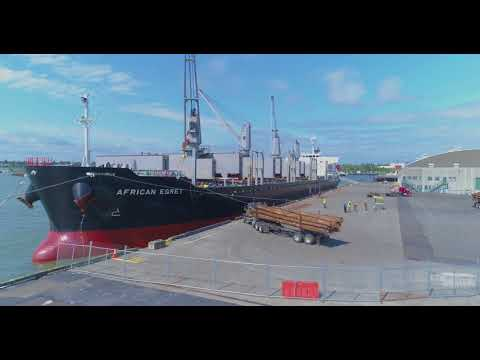 """Bellingham Shipping Terminal - Loading logs into the vessel """"African Egret"""""""