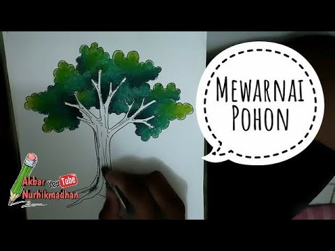 Cara Menggambar Dan Mewarnai Pohon Menggunakan Krayon How To Draw