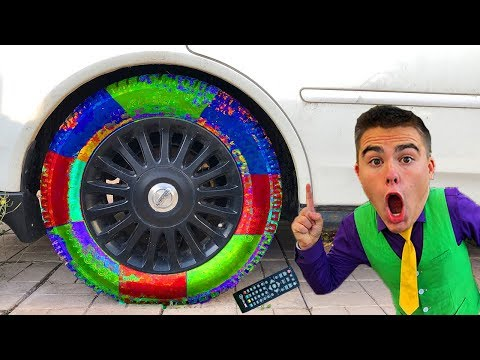 Multicolor Wheels On Car & Mr. Joe On Nissan Cedric W/ Wheels Change Colors With Remote Control