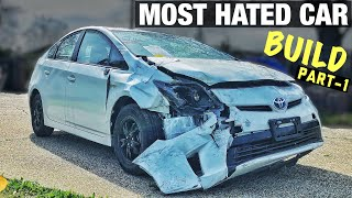 Rebuilding The Most HATED Car - 2015 Toyota Prius Wrecked From Auction - Part 1 - At Home DIY