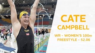 Cate Campbell - WORLD RECORD REACTION - 100m Freestyle 52.06