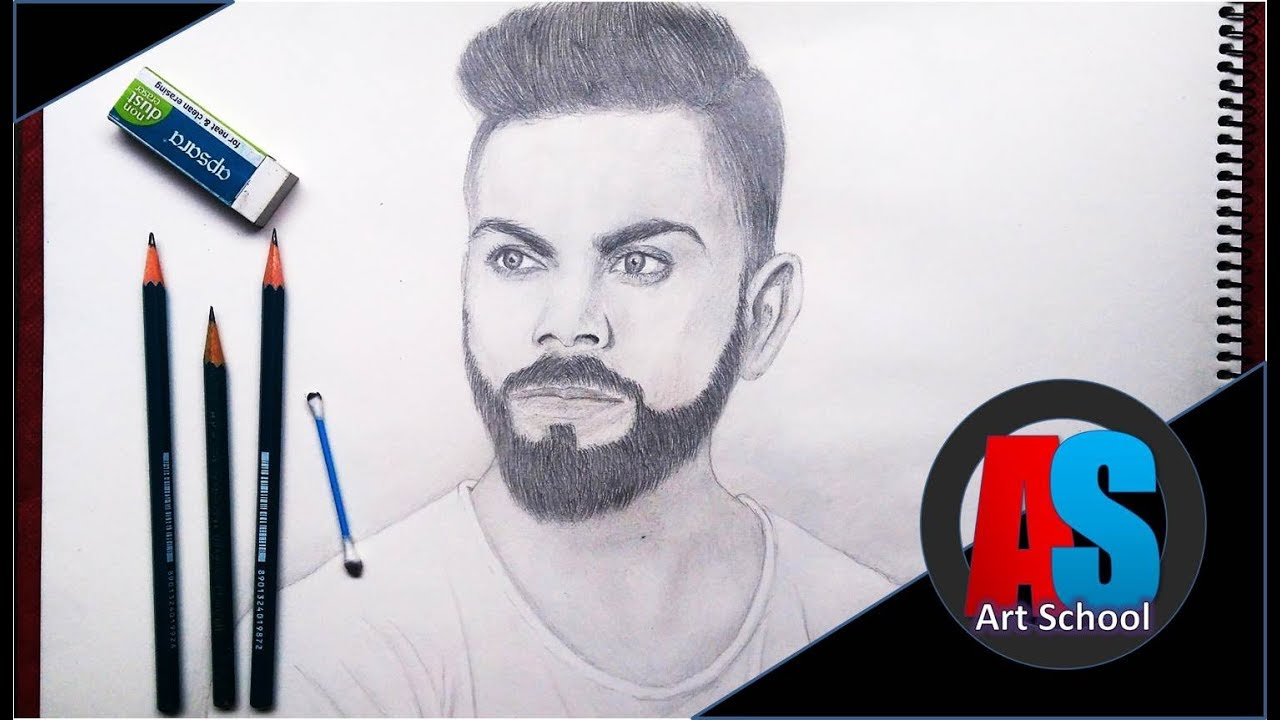 How To Draw Realistic Virat Kohli With Pencil Step By Step Art School