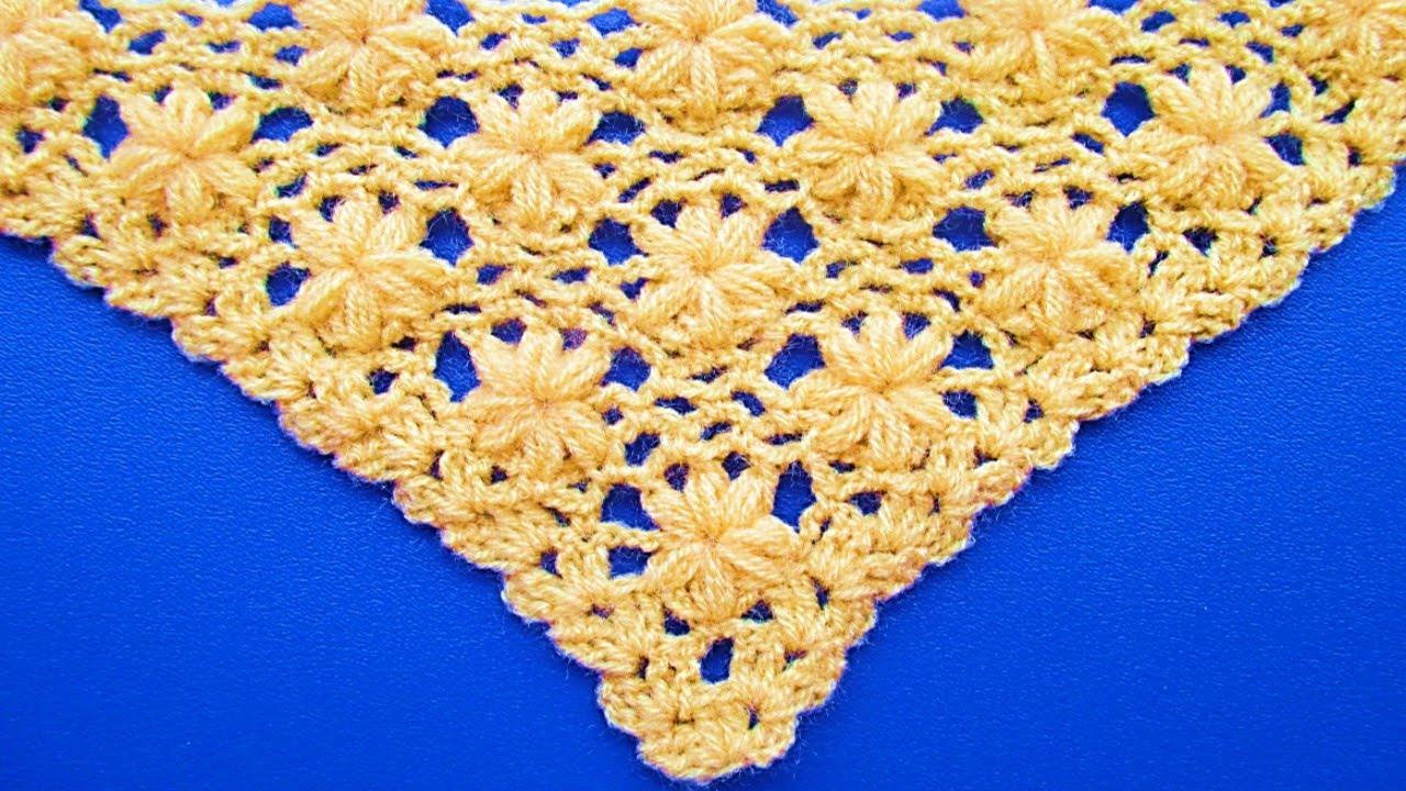 chal triangular tejido a crochet paso a paso : punto jazmin - YouTube