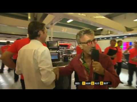 Eddie Jordan trying to interview Sam Michael [BBC] F1 2011 Abu Dhabi