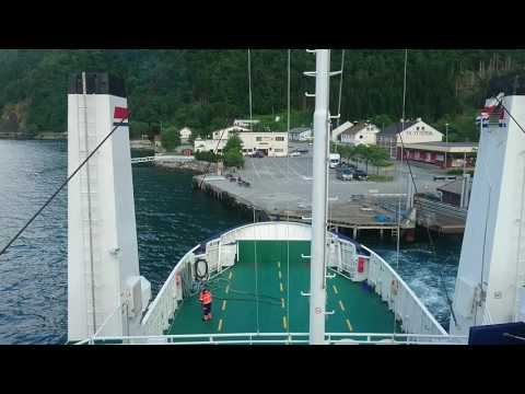 """The car ferry """"Aukra"""" mooring for the night in Eidsdal, Norway"""