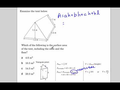 Surface area of a triangular prism EQAO  sc 1 st  YouTube & Surface area of a triangular prism EQAO - YouTube
