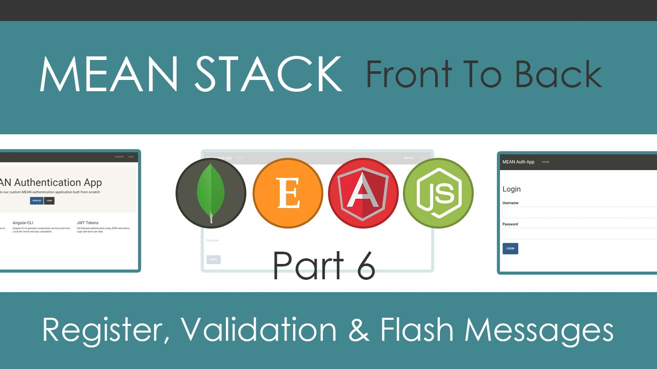 mean stack front to back part 6 register component validation
