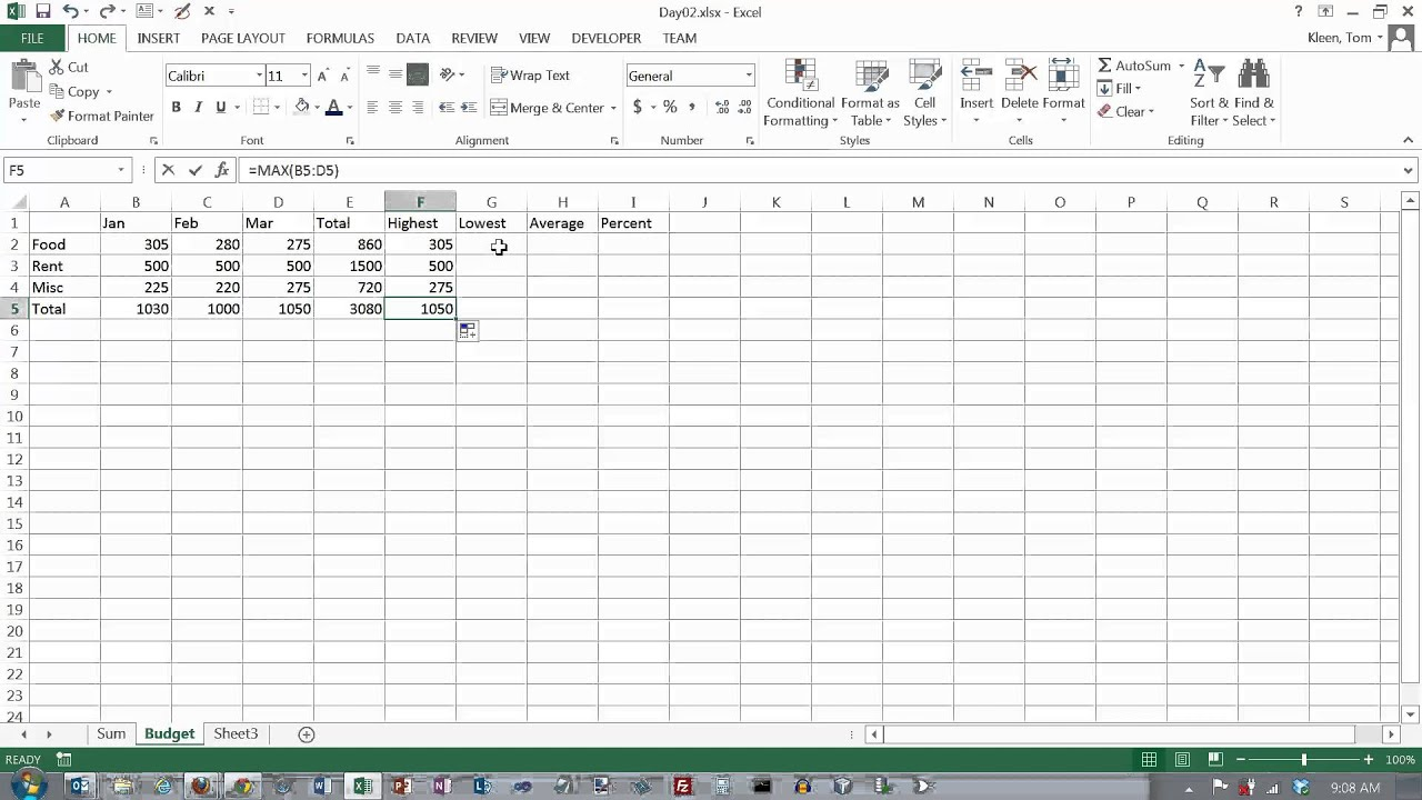 Excel Formulas 01 Relative Cell References And Basic Math Functions Sum Average Min