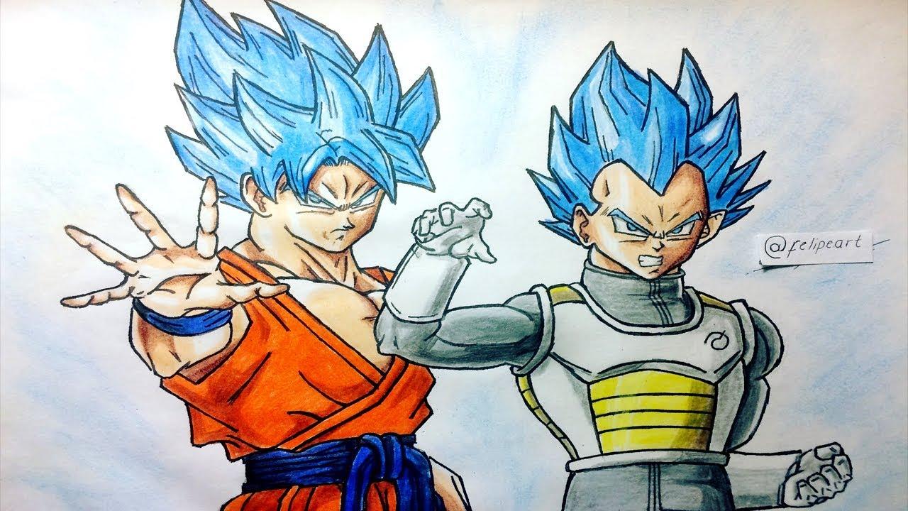Goku Super Sayayin Dios Azul Para Colorear: Cómo Dibujar A GOKU Y VEGETA SSJ DIOS AZUL