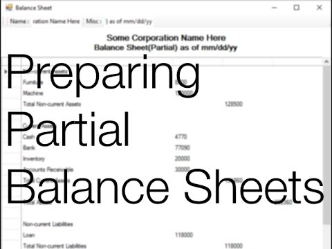 How To Prepare Partial Balance Sheets  Youtube