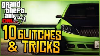 GTA 5 Online - 10 Glitches & Tricks Online! (Free Cars, Secret Outfits, RP Glitch & More)(GTA 5 10 Glitches & Tricks Online! Drop a Like on the video & Subscribe for more GTA 5 Glitches! ▻ GTA 5 Videos Subscribe: http://bit.ly/SubNPFL ▻ Twitter: ..., 2015-04-05T19:13:47.000Z)