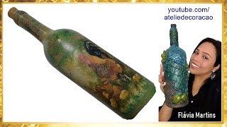 DIY – Garrafa com Decoupage Caseira – Tema: Galo, Galinha e pintinho