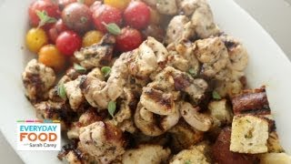 Chicken, Tomato, & Bread-cube Kebabs With Lemon Oregano Marinade - Everyday Food With Sarah Carey