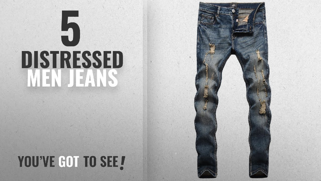 49be308c81 Top 10 Distressed Men Jeans [ Winter 2018 ]: ZLZ Men's Ripped Skinny ...