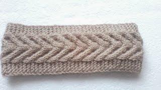Вязание  повязки на голову узором