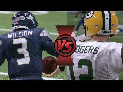 SUPERSTAR QB BATTLE Aaron Rodgers vs Russell Wilson in NFL PLAYOFFS! Madden 17 Online CFM Gameplay
