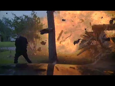Texas House Explosion Caught on Police Dashcam
