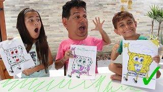 DESAFIO COLORINDO Desenho GIGANTE com 3 CORES de Canetinha. Pintando e Brincando com Meu Pai e Irmão