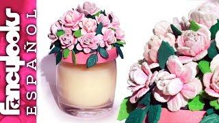 Cómo hacer rositas para decorar un tarro con vela