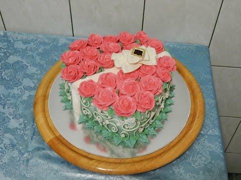 Торт в форме сердца БУКЕТ РОЗ, украшение тортов кремом, cake decoration