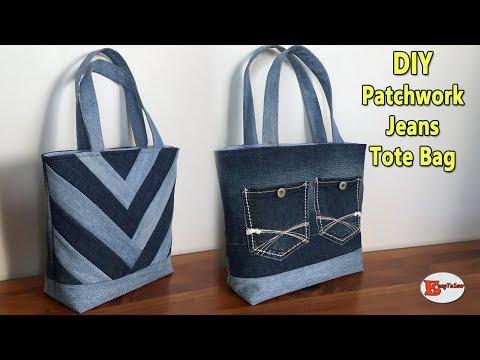 diy-patchwork-jeans-tote-bag- -tote-bag- -jeans-bag- -recycle-jeans-ideas- diy-bag-sewing-tutorial