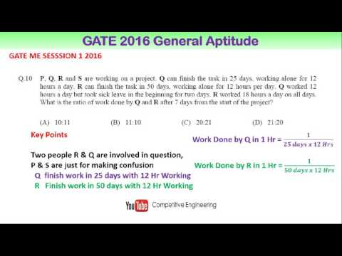GATE 2016 General Ability Solved Questions|Work and Time| for GATE 2017