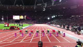 Men's 100m Final - London 2012 Olympics(At the start line of the Men's 100m Final at the London Olympics. (Including the bottle throwing incident). Sunday 5th August 2012. Usain Bolt wins in Olympic ..., 2012-08-08T22:41:28.000Z)