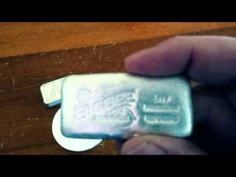 Bisbee Silver 5 oz button and 100 gram bar
